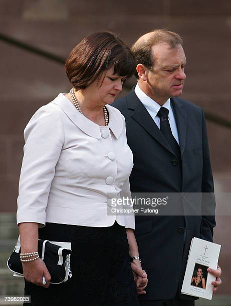 Julia and Bill Hawker the parents of murdered English teacher Lyndsey Ann Hawker leave Coventry Cathedral after the Lyndsey's funeral service on 26...