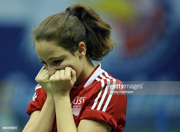 Julia Arnold of FF USV Jena reacts after the semifinal match against FC Bayern Muenchen during the THome DFB Indoor Cup at the Boerdelandhalle on...