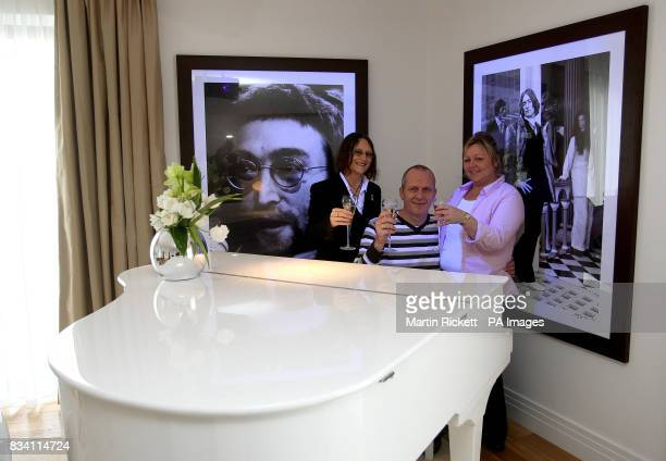 Julia Baird John Lennon's half sister with Peter Carswell and Sandra Exley the first people to stay in the John Lennon suite at the Hard Day's Night...