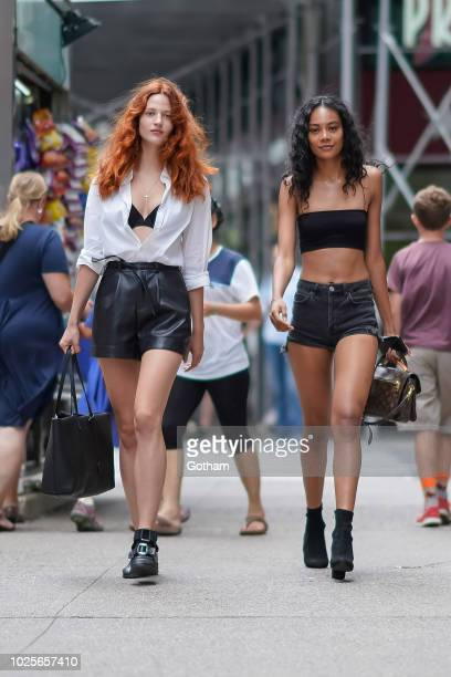 Julia Banas and Martine Fox attend casting for the 2018 Victoria's Secret Fashion Show in Midtown on August 31, 2018 in New York City.