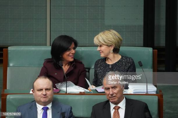 Julia Banks Member for Chisholm and Julie Bishop Member for Curtin are seen during Question Time in the House of Representatives at Parliament House...