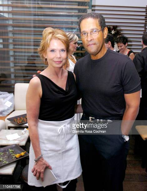 Julia Barr and Bryant Gumbel during Celebrity Waiters Serve Up Sapa's Southeast Asian Cuisine to Benefit Project ALS at Sapa Restaurant in New York...