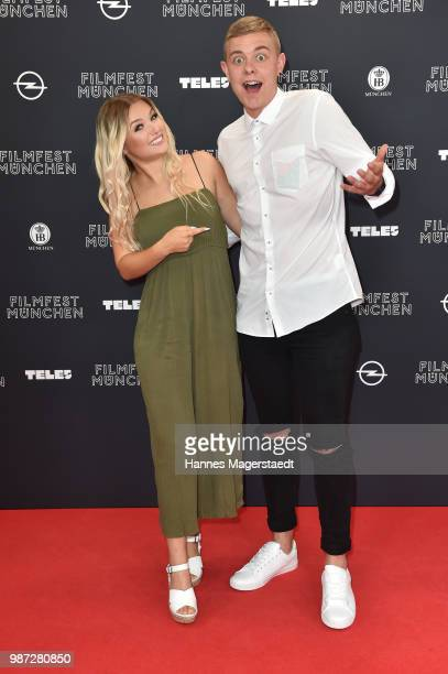 Julia Beautx and Jonas Ems attend the premiere of the movie 'Das schoenste Maedchen der Welt' of Munich Film Festival 2018 at Mathaeser Filmpalast on...