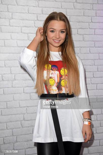 Julia Beautx poses for pictures during the Bars and Melody record release party on March 8, 2019 in Berlin, Germany.