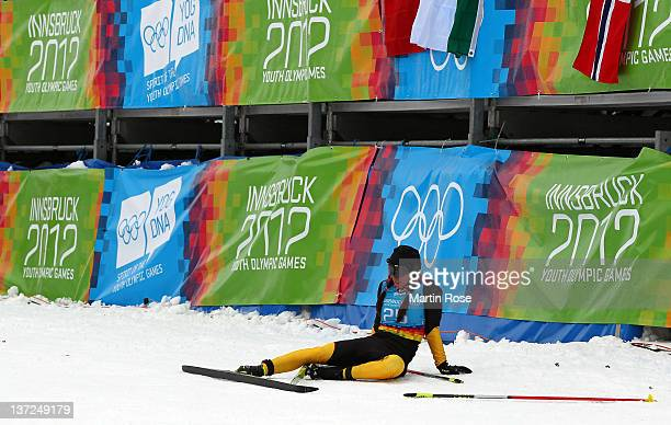 Julia Belger of Germany looks exhausted after the Women's Classic 5km Cross Country during the Winter Youth Olympic Games at Seefeld Arena on January...