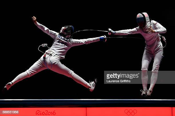 Julia Beljajeva of Estonia competes against Lyubov Shutova of Russia during the Women's Epee Team Bronze Medal Match bout on Day 6 of the 2016 Rio...