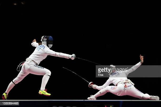 Julia Beljajeva of Team Estonia competes against Sera Song of Team South Korea during the Women's Epée Team Gold Medal Match on day four of the Tokyo...