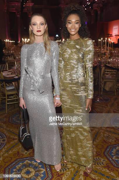 Julia Belyakova and Cheyenne Carty attend the amfAR New York Gala 2019 at Cipriani Wall Street on February 6 2019 in New York City