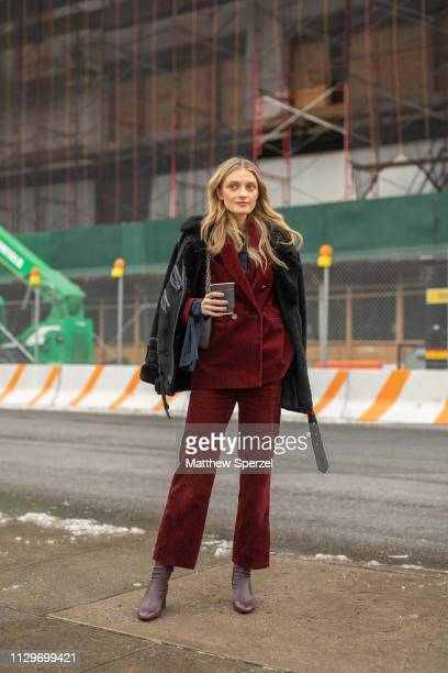 Julia Belyakova is seen on the street during New York Fashion Week AW19 wearing BOSS on February 13, 2019 in New York City.