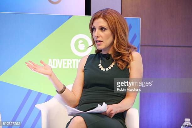Julia Boorstin speaks onstage during CNBC Masters of Monetization panel at Thomson Reuters during 2016 Advertising Week New York on September 27 2016...