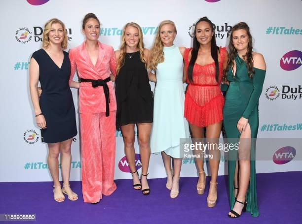Julia Boserup Johanna Konta Katie Swan Harriet Dart Heather Watson and Katy Dunne attend the WTA Summer Party 2019 at Jumeirah Carlton Tower on June...