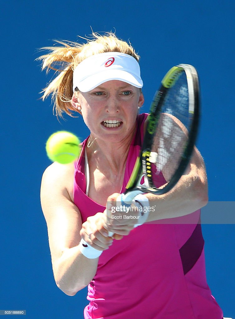 Julia Boserup of the United States plays a backhand in her match against Anastasija Sevastova of Latvia during the third round of 2016 Australian Open Qualifying at Melbourne Park on January 16, 2016 in Melbourne, Australia.