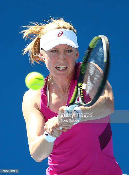 Julia Boserup of the United States plays a backhand in her match against Anastasija Sevastova of Latvia during the third round of 2016 Australian...