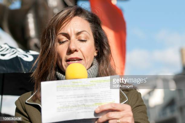Julia Bradbury seen speaking during the protest The newly formed Extinction Rebellion group concerned about climate change calls for a peaceful mass...