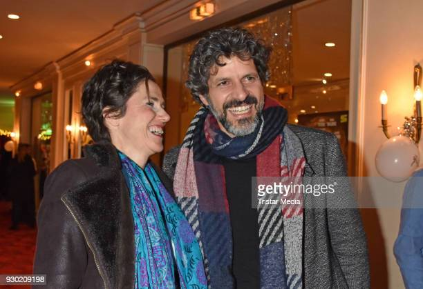 Julia Bremermann and Pasquale Aleardi attend the premiere 'Der Entertainer' on March 10 2018 in Berlin Germany
