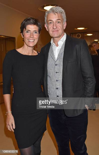 Julia Bremermann Dominic Raacke during the 'Hase Hase' theatre premiere at Komoedie am Kurfuerstendamm at Schillertheater on January 20 2019 in...