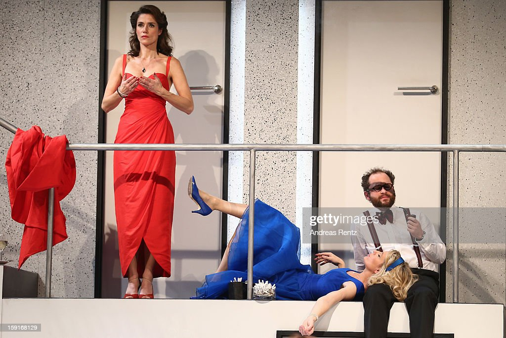 Julia Bremermann, Maria Furtwaengler and Nikolaus Szentmiklosi perform during the 'Geruechte...Geruechte...' photo rehearsal at Komoedie am Kurfuerstendamm Theater on January 9, 2013 in Berlin, Germany.