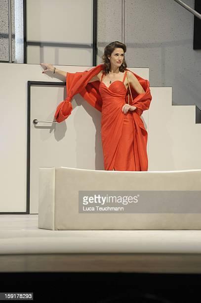 Julia Bremermann performs during the 'Geruechte...Geruechte...' photo rehearsal at Komoedie am Kurfuerstendamm Theater on January 9, 2013 in Berlin,...