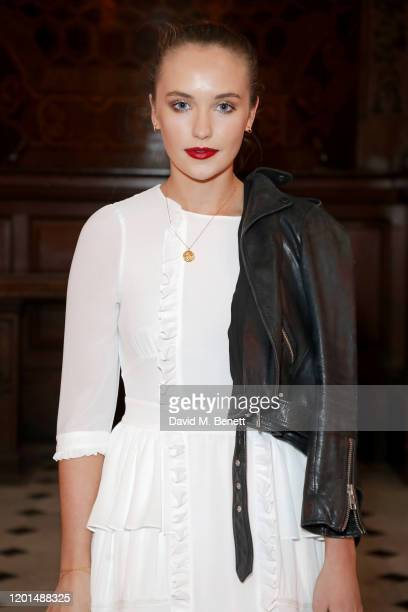 Julia Brown attends the BORA AKSU show during London Fashion Week February 2020 at St George's Bloomsbury on February 17 2020 in London England