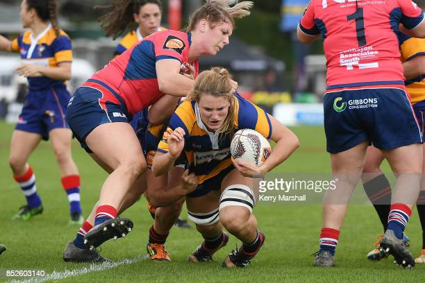 Julia Buescher of Bay of Plenty dives towards the try line during the round four Farah Palmer Cup match between Bay of Plenty and Tasman at Tauranga...