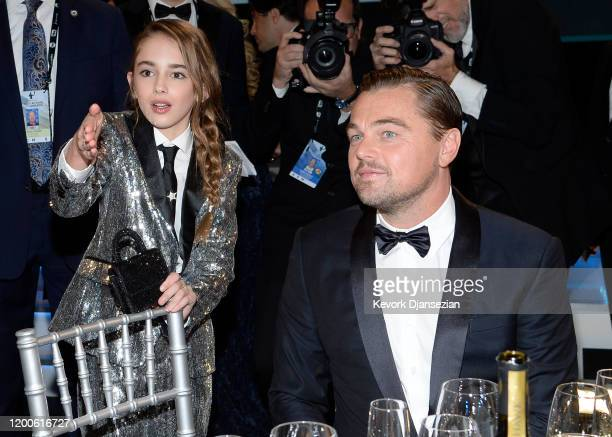 Julia Butters and Leonardo DiCaprio attend the 26th Annual Screen ActorsGuild Awards at The Shrine Auditorium on January 19 2020 in Los Angeles...