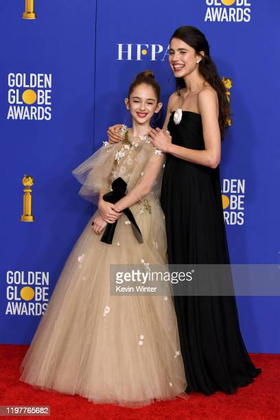 Julia Butters and Margaret Qualley pose in the press room during the 77th Annual Golden Globe Awards at The Beverly Hilton Hotel on January 05 2020...