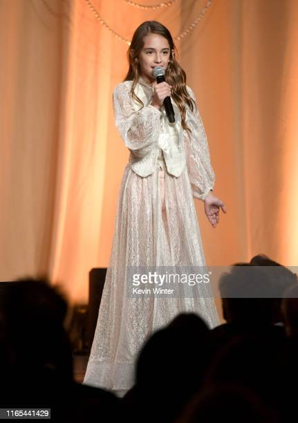 Julia Butters speaks onstage during Hollywood Foreign Press Association's Annual Grants Banquet at Regent Beverly Wilshire Hotel on July 31 2019 in...