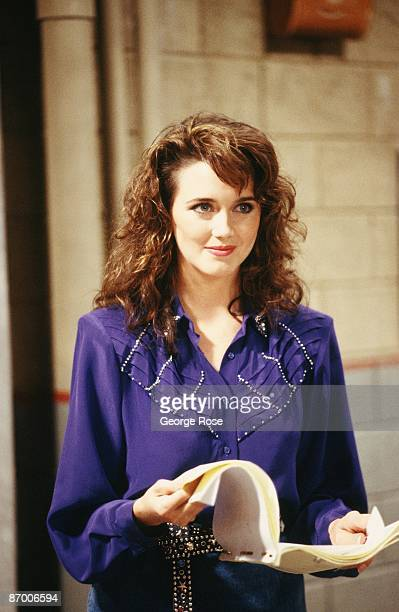 Julia Campbell star of Fox TV's Women in Prison series poses on the set during a 1987 Los Angeles California taping of the show