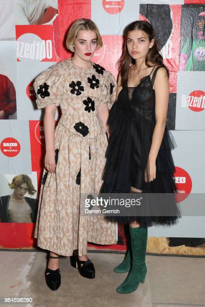 Julia CampbellGillies and a guest attend the Dazed and YouTube Dazed100 celebration at St Giles House on June 26 2018 in London England