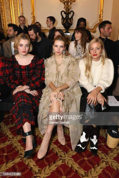 Julia CampbellGillies Greta Bellamacina and Kate Foley attend the Simone Rocha show during London Fashion Week September 2018 at Lancaster House on...