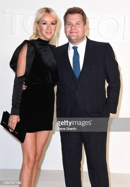 Julia Carey and James Corden arrives at the Tom Ford AW20 Show at Milk Studios on February 07, 2020 in Hollywood, California.