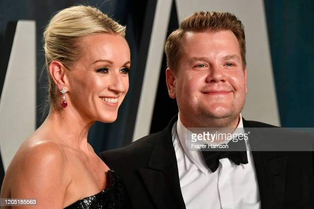 Julia Carey and James Corden attend the 2020 Vanity Fair Oscar Party hosted by Radhika Jones at Wallis Annenberg Center for the Performing Arts on...