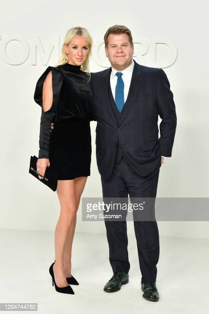 Julia Carey and James Corden attend the Tom Ford AW20 Show at Milk Studios on February 07, 2020 in Hollywood, California.