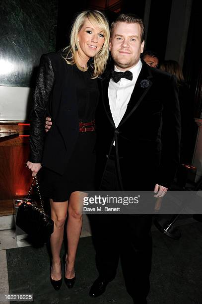 Julia Carey and James Corden attend the Universal Music Brits Party hosted by Bacardi at the Soho House popup on February 20 2013 in London England