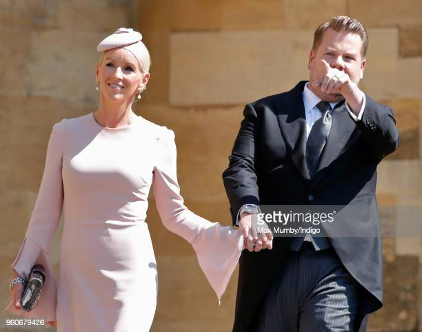 Julia Carey and James Corden attend the wedding of Prince Harry to Ms Meghan Markle at St George's Chapel, Windsor Castle on May 19, 2018 in Windsor,...