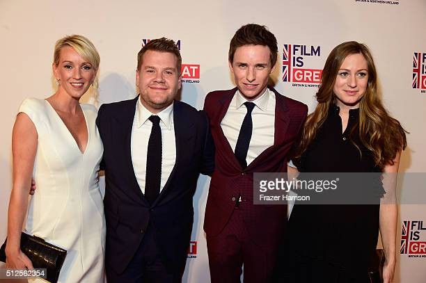 Julia Carey James Corden Eddie Redmayne and Hannah Redmayne attend the Film is GREAT Reception at Fig Olive on February 26 2016 in West Hollywood...