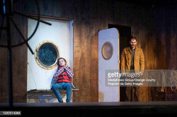 Julia Cassandra Smith and Jackson Tobiska perform during dress rehearsals for the world premier of Loch Ness a new musical at the Chance Theater in...