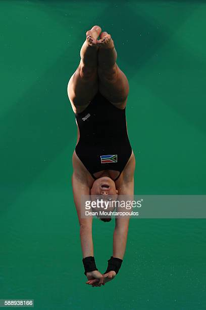 Julia Catherine Vincent of South Africa competes in the Women's Diving 3m Springboard Preliminary Round on Day 7 of the Rio 2016 Olympic Games at...