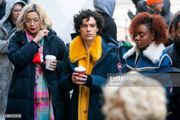 Julia Chan Jonny Beauchamp and Ashleigh Murray are seen on set for 'Katy Keene' in Midtown on March 26 2019 in New York City
