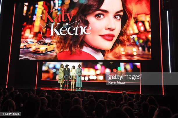 Julia Chan Jonny Beauchamp Lucy Hale and Ashleigh Murray of Katy Keene speak onstage during the The CW Network 2019 Upfronts at New York City Center...