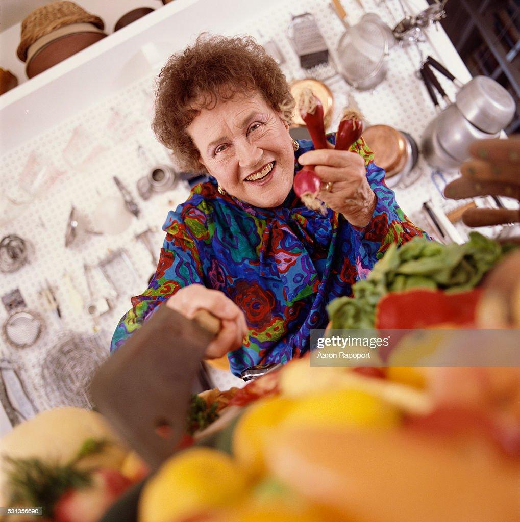 Julia Child in her kitchen