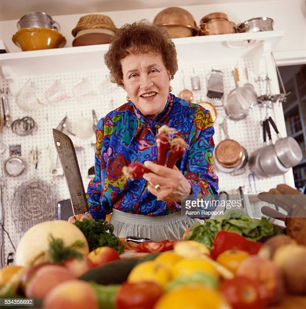 Julia Child in her kitchen