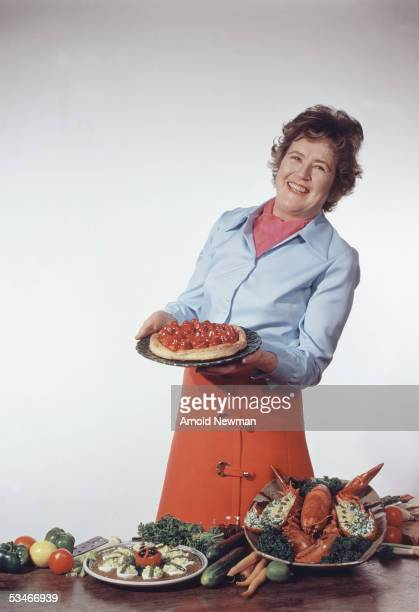 Julia Child poses for a cover shoot for McCalls Magazine April 11 1970 in Cambridge Massachusetts