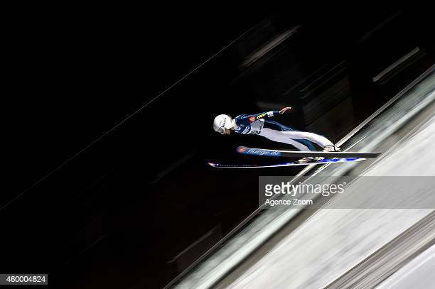 Julia Clair of France competes 1st place during the FIS Ski Jumping World Cup Women's HS100 on December 05 2014 in Lillehammer Norway