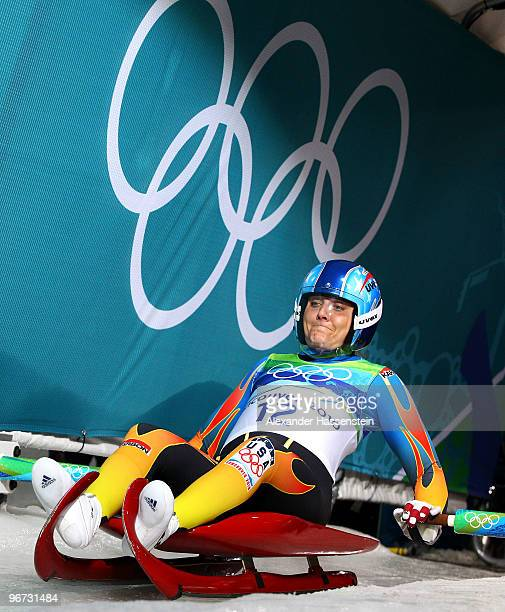Julia Clukey of The United States competes during the Luge Women's Singles on day 4 of the 2010 Winter Olympics at Whistler Sliding Centre on...