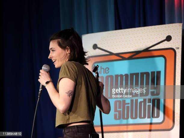 """Julia Corsetti performs during """"Comedy Hell"""" night, where comics get three minutes each to perform for Comedy Studio owner Rick Jenkins and an..."""
