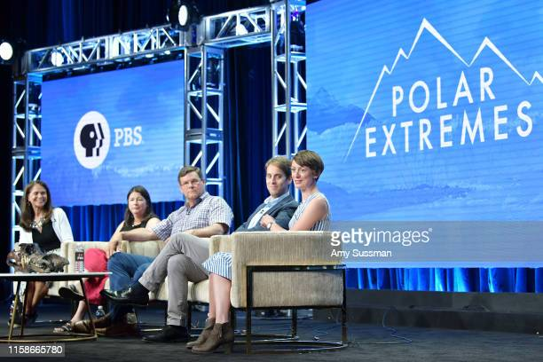 Julia Cort Maureen E Raymo Kirk Johnson Jeremy Shakun and Lucy Haken of Polar Extremes speak during the 2019 Summer TCA press tour at The Beverly...
