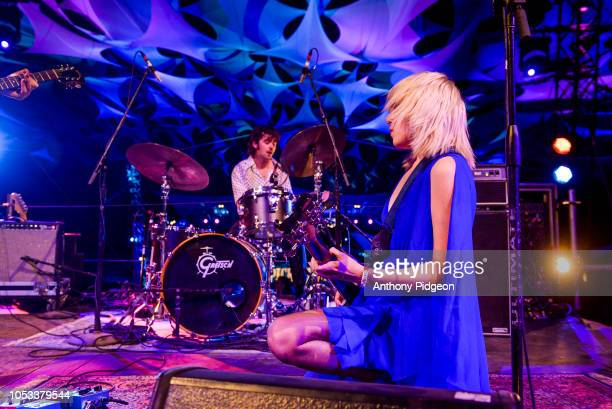 Julia Cumming of Sunflower Bean performs on the Starlight stage at Pickathon festival in Happy Valley Oregon USA on 5th August 2018