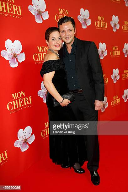 Julia Dahmen and her husband Carlo attend the Mon Cheri Barbara Tag 2014 at Haus der Kunst on December 4 2014 in Munich Germany