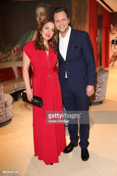 Julia Dahmen and her husband Carlo Fiorito during the Four Seasons Fashion Charity Dinner at Hotel Vier Jahreszeiten on March 15 2018 in Munich...